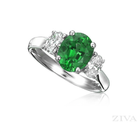 Ziva Emerald 3-Stone Ring