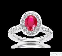 Ziva Ruby Ring with Diamond Halo