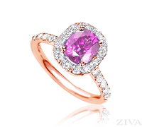 Ziva Pink Sapphire Ring with Diamond Halo in Rose Gold