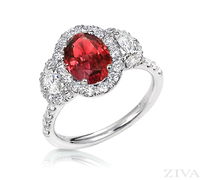 Ziva Ruby Ring with Moon Cut Diamonds in Diamond Halos