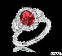 Ziva Ruby Ring with Moon Cut Diamonds in Diamond Halos