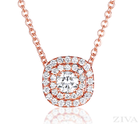 Ziva RG Diamond Pendant with Double Halo