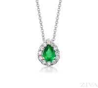 Ziva Pear Emerald Pendant with Diamond Halo