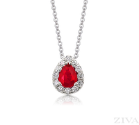 Ziva Pear Ruby Pendant with Diamond Halo