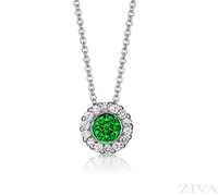 Ziva Emerald Pendant with Halo