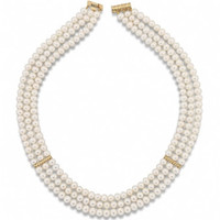 "Imperial 18.5"" Cultured Pearl Necklace with gold spacers 965167"