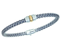 18Kt/Sterling Silver Cortona Bangle With Rondell