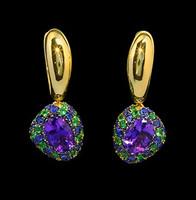Mousson Atelier Riviera Gold Amethyst Earrings E0072-4/11