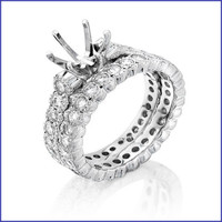 Gregorio 18K White Diamond Engagement Ring & Band H-899