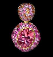 Mousson Atelier Riviera Gold Rose Tourmaline Pendant P0072-0/2