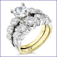 Gregorio 18K Two Tone Diamond Engagement Ring & Band R-0082