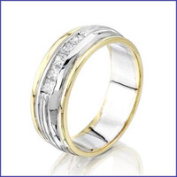 Gregorio 14K 2 Tone Men's Ring with Diamonds SA-142