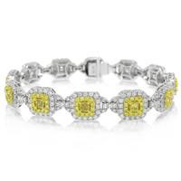 8.59ct Radiant Cut Natural Fancy Yellow Diamond Bracelet