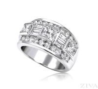 Ziva Wide Diamond Ring with Baguette, Round & Princess Cut Diamonds