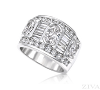 Ziva Wide Diamond Band with Oval, Baguette & Round Diamonds