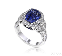 Ziva Vintage Tanzanite Ring with Moon Cut, Princess Cut & Pave Diamonds