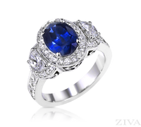 Ziva Vintage Sapphire Ring with Moon Shape, Pave Diamonds & Filigree