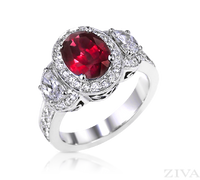 Ziva Vintage Ruby Ring with Moon Shape, Pave Diamonds & Filigree