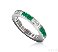 Ziva Square Emerald & Diamond Eternity Band