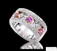 Ziva Pink Sapphire & Diamond Anniversary Band