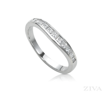Ziva Curved Princess Cut Diamond Band