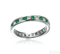 Ziva Channel Set Emerald & Diamond Eternity Band