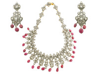 22.29 ct Rose Cut Diamond & Ruby Bead Earring/Necklace Set
