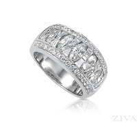 Ziva Unique Anniversary Ring with Marquise, Baguette & Pave Diamonds