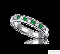 Ziva Emerald & Diamond Wedding Band