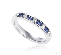 Ziva Baguette Sapphire & Diamond Wedding Band