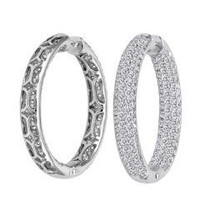 4.50 Cttw Diamond Hoop Earrings Inside Out (rd 4.50cttw)