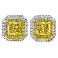 2.70 Cttw Diamond Stud Earrings (rd 0.37cttw, Fy 0.30cttw, Fy 2.03cttw)