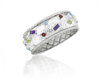 Thistle & Bee Silver Hammered Braid & Gemstone Bracelet