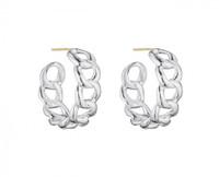 Thistle & Bee Silver Curb Link Hoop Earrings