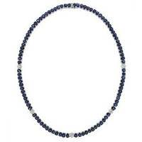 1.30ct Diamond & 41.60ct Ceylon Sapphire 14k W/g Necklace