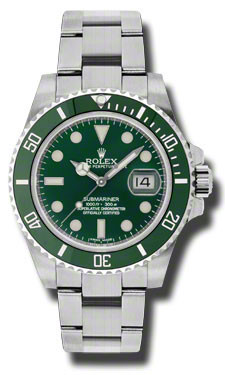 Stainless steel case with a stainless steel oyster bracelet. Unidirectional rotating strainless steel bezel with a green ion-plated top ring. Green dial with luminous hands and luminous dot hour markers. Minute markers around the outer rim. Dial Type: Analog. Luminescent hands and dial markers. Date displays at the 3 o'clock position. 31 jewels automatic movement with a 50 hour power reserve. Scratch resistant sapphire crystal. Screw down crown. Solid case back. Case diameter: 40 mm. Case thickness: 13 mm. Round case shape. Band width: 20 mm. Water resistant at 300 meters/ 1000 feet. Functions: hours/ minutes /seconds/ date. Luxury watch style. Watch label: Swiss Made. Rolex Submariner Green Dial Steel Mens Watch 116610LV.