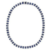 2.89ct Diamond & 34.95ct Ceylon Sapphire 14k W/g Necklace