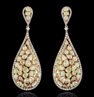 9.79 Carat Fancy Yellow & White Diamond Earrings SEE15057Y