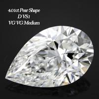 4.01 Carat D/VS1 Pear Cut Diamond (GIA Certified)