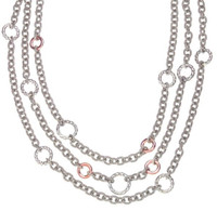 18Kt/Sterling Silver Triple Row Link Necklace