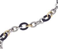 18Kt/Sterling Silver Traversa, Shiny & Ultra Black Link Bracelet
