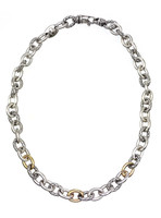18Kt/Sterling Silver Traversa Link Necklace