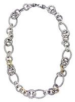 18Kt/Sterling Silver Round & Oval Link Necklace