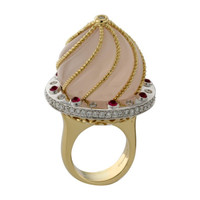 Pink Quartz & 1.35 ct Diamond Ring