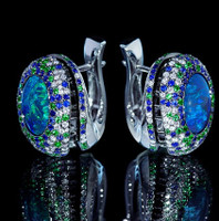 Mousson Atelier Spectrum Collection Opal & Diamond Earrings E0041-0/1