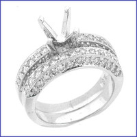 Gregorio 18K WG Solid Ladies Diamond Engagement Ring R-3262