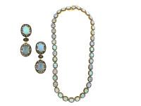Opal & 7.80 ct Diamond Earring/Necklace Set