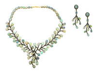 Opal & 6.40 ct Diamond Earring/Necklace Set