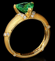 Mousson Atelier Tweed Collection Gold Tsavorite & Diamond Ring R0085-0/2