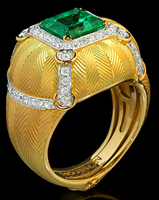 Mousson Atelier Tweed Collection Gold Emerald & Diamond Ring R0104-0/2